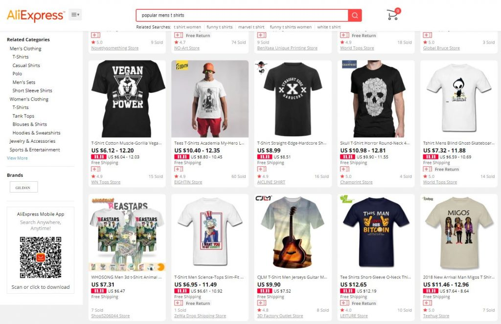 AliExpress popular men's t-shirts