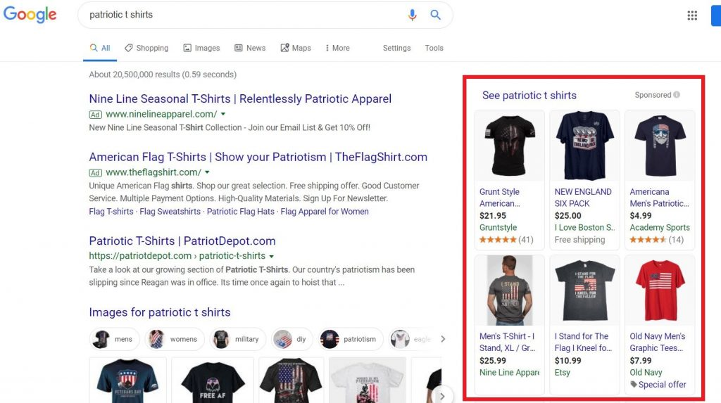 Examples of T-shirt Product Ads on Google