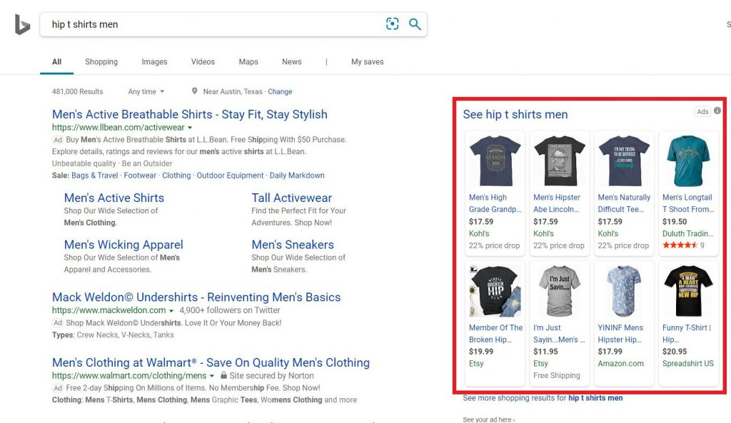 Examples of T-shirt Product Ads on Bing