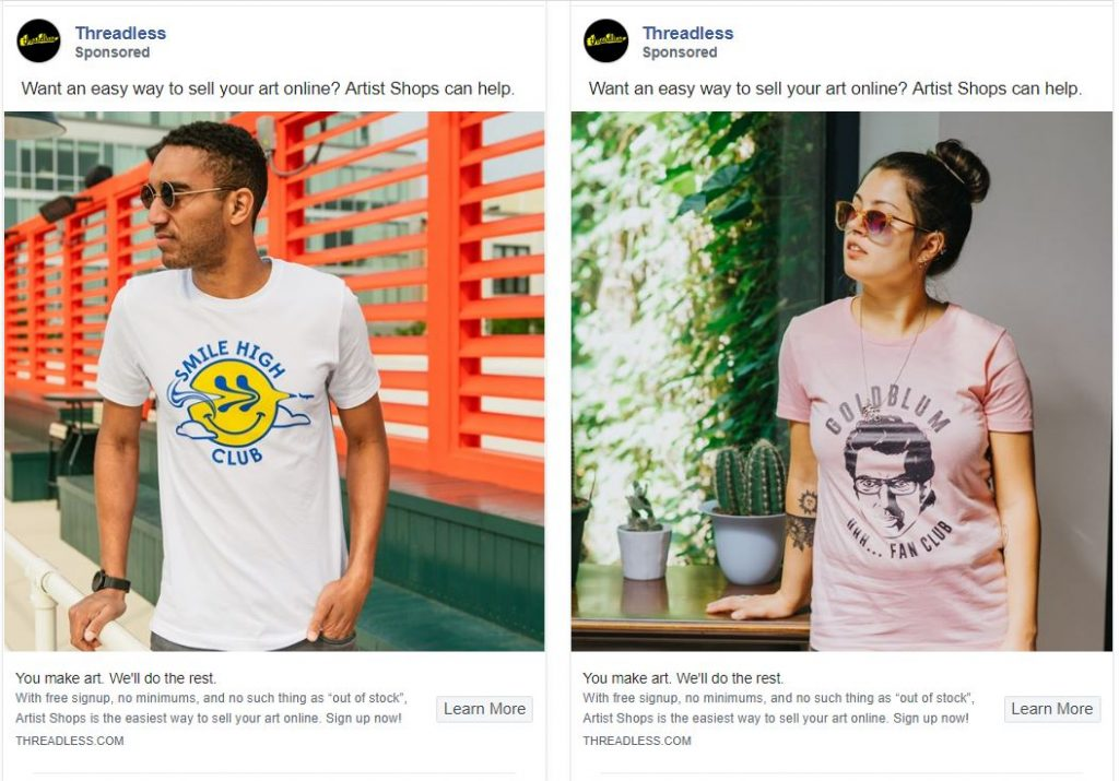 T-Shirt Store Facebook Ads Example